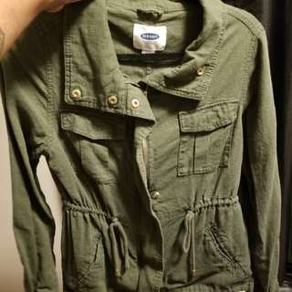 Old navy green zip-up collared jacket