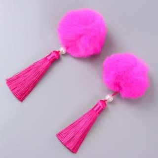 Hot Purplish Pink fury ball clips 2 pcs