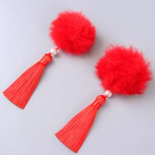 Bright Red fury ball clips 2 pcs