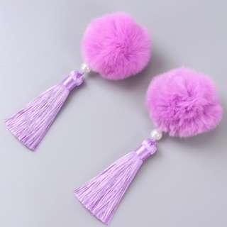 Light purple fury ball clips 2 pcs