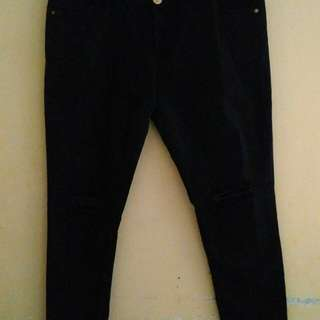 RIPPED JEANS BLACK BIG SIZE
