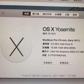 Macbook Pro (13-inch,Early 2011)