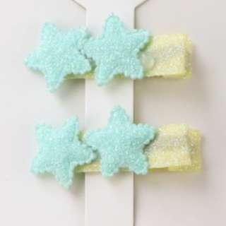 Light Blue Double Star Hair Clip x2