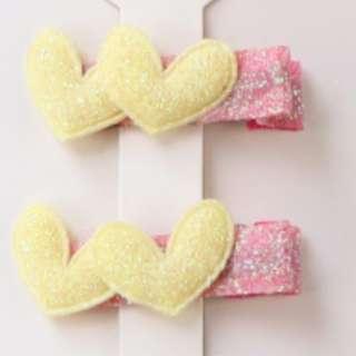 Baby Yellow Double Hearts Hair Clip x2