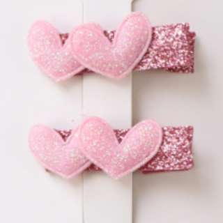 Light Pink Double Hearts Hair Clip x2
