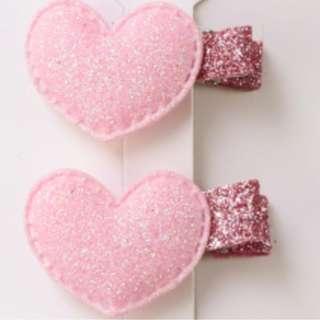 Light Pink Big Heart Hair Clip x2