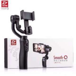 "Jet Black Zhiyun Smooth-Q 3-Axis Handheld Gimbal Stabilizer for up to  6"" inches Smartphones Monopod & Power bank in 1"
