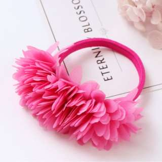 Hot Pink flower rubber band