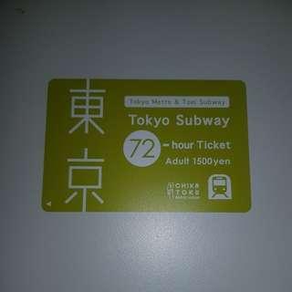 Tokyo Metro & Toei Subway 72 hour ticket