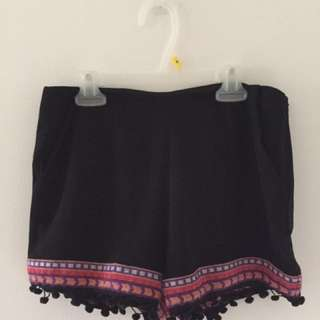 Forever 21 Black And Stitched Detail Festive Shorts