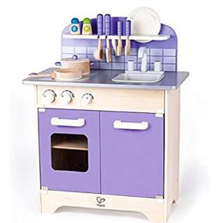 HAPE wood kids play kitchen with 13 deluxe wood accessories