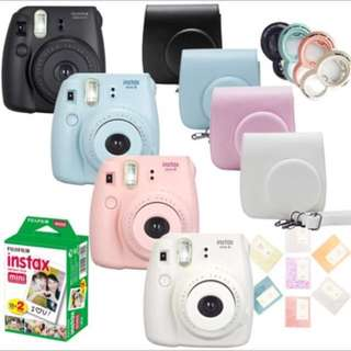 Fujifilm Instax Mini 8 Film Camera + Fuji 20 Sheets Instant Mini White Photo + Close up lens + PU Cover bag + 64 Pockets Album