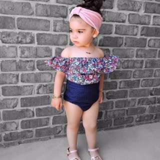 🌟INSTOCK🌟 2pc Purple Pink Floral Off Shoulder Top & Navy Tights Shorts for Newborn Baby Toddler Girls Children Kids Clothing
