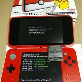 破解 new2dsLL 3DS LL〖玩到pokemon究極日月!〗最新磁鐵法軟改b9s破解!可救磚! 可改save傳switch改mhxx存檔