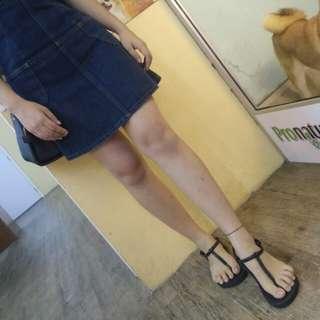 Dark blue denim mini jumpsuit