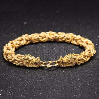 Men's 18K Gold Plated Dragon Head Bracelet