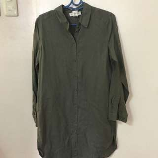 H&M Military green shirt dress