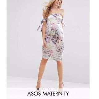 ASOS Maternity Bow Bardot Midi Dress In Floral