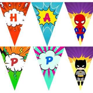 Customize, Personalize Superhero Theme Bunting, Banner
