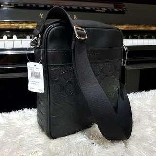 Coach Men Flight Bag Embossed Black