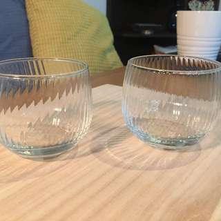 早期 貝殼直紋路 玻璃水杯 威士忌杯(2入)