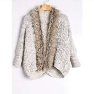 Faux fur trimmed cable knit cardigan