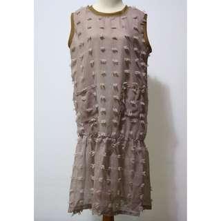 Frill Dress Brown