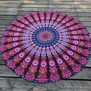 Purple Mandala Yoga Summer Beach Towel