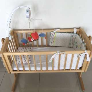 Mothercare Wooden Crib with Swing Motion