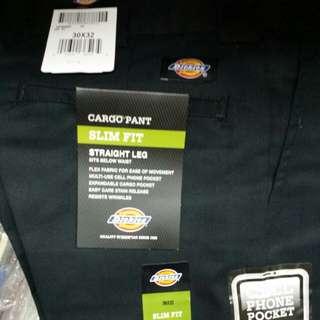 Dickies 594 Slim Fit Multi Pocket Cargo Work Pants Black 30