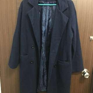 🚚 深藍 大衣 外套