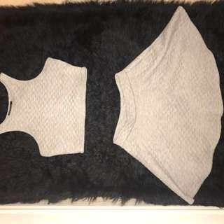 Grey 2 Piece Skirt and Top