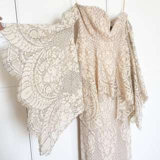 Shona Joy off shoulder Angel Lace dress Nude cream