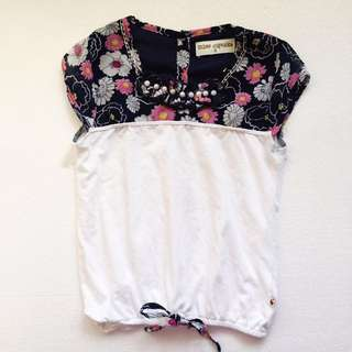 Miss Cupcake Navy Flowers and White Pearls Blouse Size 6