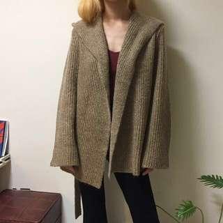 韓製 淺棕色 連帽 開襟 毛衣 外套 實穿
