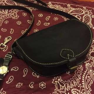 Vintage Handmade Leather black bag USA style