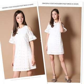 TSW SIZE:L GRACEFUL COLD SHOULDER EYELET DRESS IN WHITE