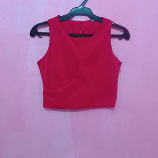 Red Sleeveless Crop Top