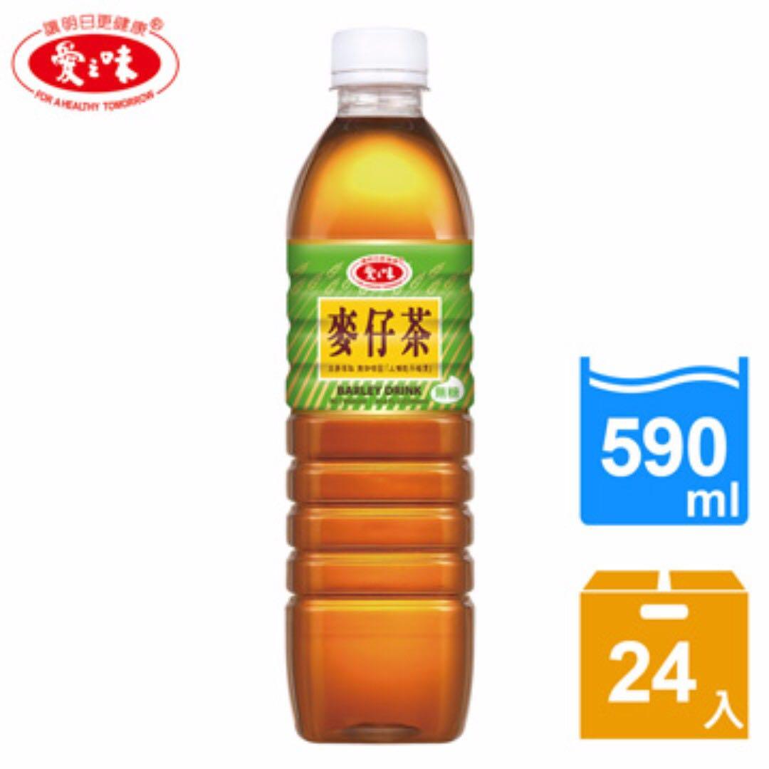 【挑戰全台免運最低價】愛之味麥仔茶-無糖590ml(24入/箱)