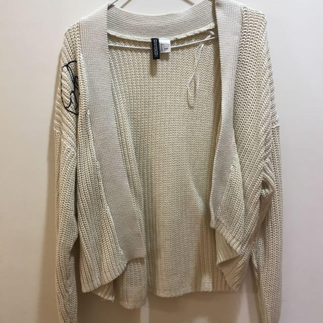 H&M杏色針織開襟衫