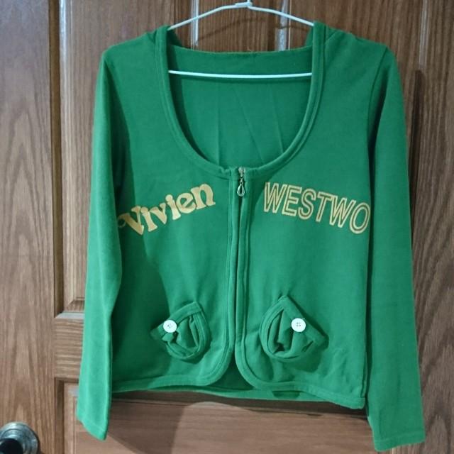 綠色短版棉質外套