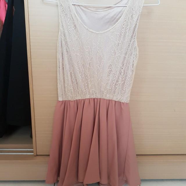 蕾絲&雪紡拼接洋裝