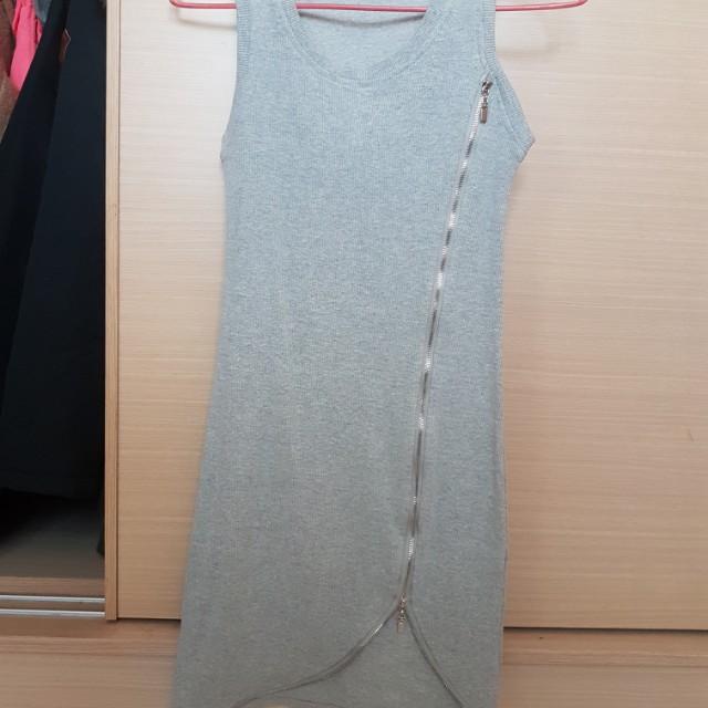 灰色性感拉鍊造型貼身洋裝