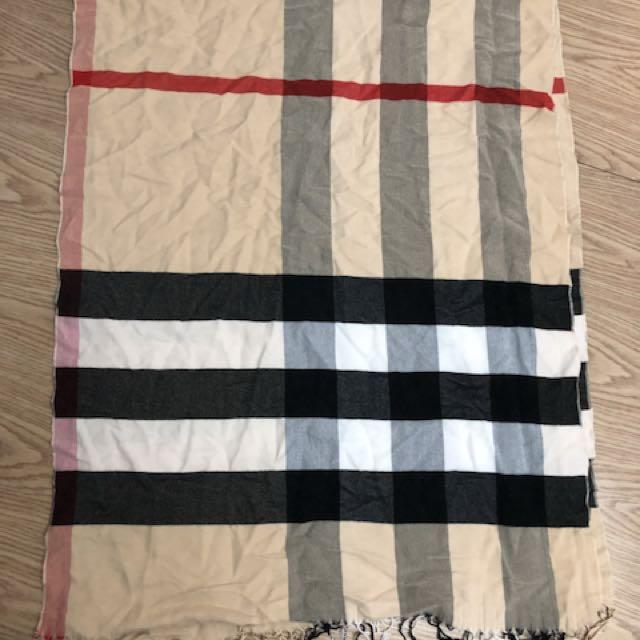 米色格子圍巾