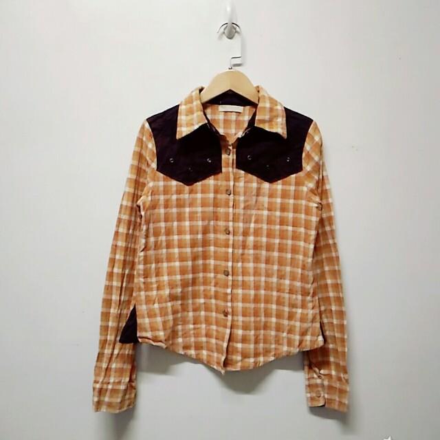 橘色格子格紋純棉拼接襯衫