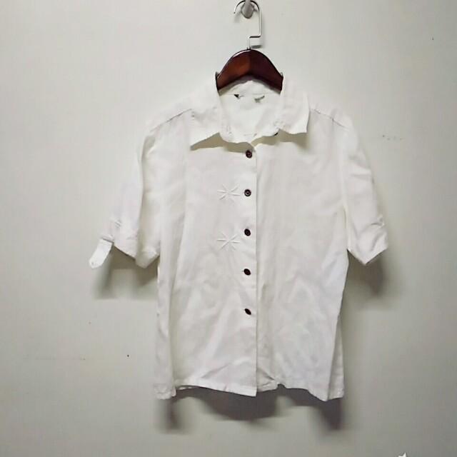 白色棉麻短袖襯衫 #十一月免購物直接送