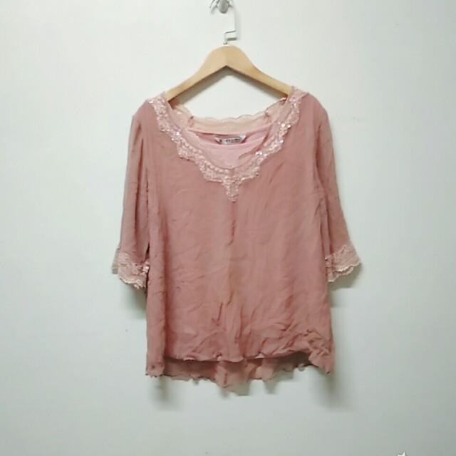 粉色雪紡短袖上衣
