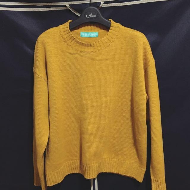 芥黃毛衣 針織毛衣