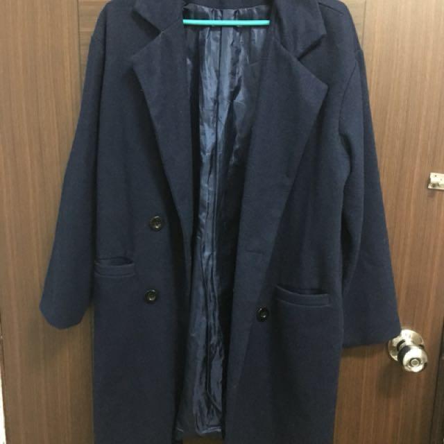 深藍 大衣 外套