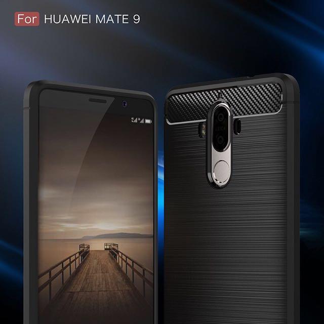 韓風 拉絲碳纖維 華為Huawei Mate9 5.9吋 全包覆 防摔 防滑 軟邊手機殼 保護套